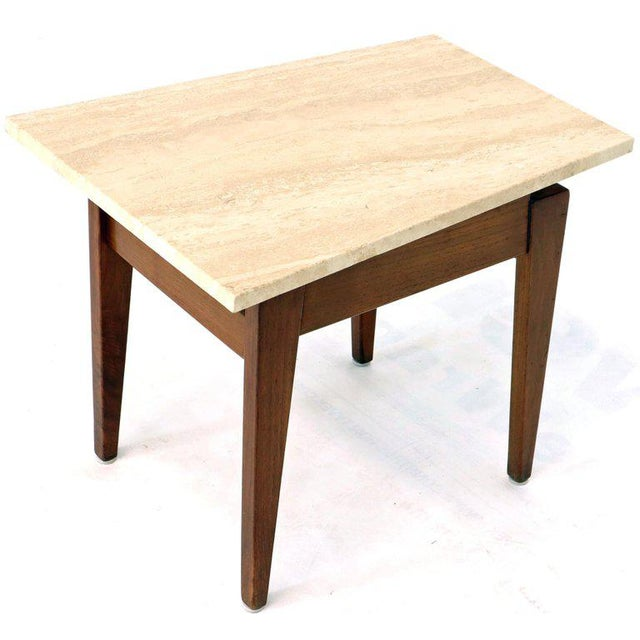 Risom Walnut End Tables W/ Wedge Shape Travertine Marble Tops - A Pair For Sale - Image 11 of 13