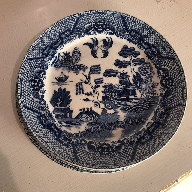 Blue and White Chinoiserie Willow Plates- Japan - Set of 3 For Sale In Pittsburgh - Image 6 of 7