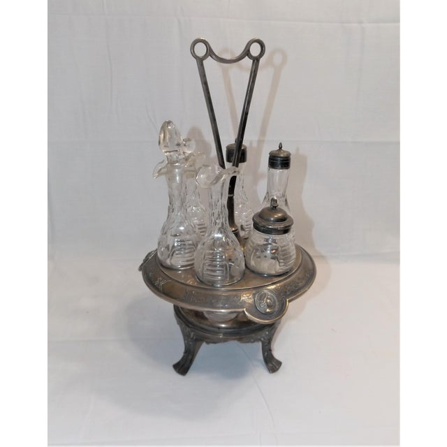 Antique Cruet Condement Server Set by Manhattan Plate Co. & Hand Blown Glass Vessels For Sale - Image 13 of 13