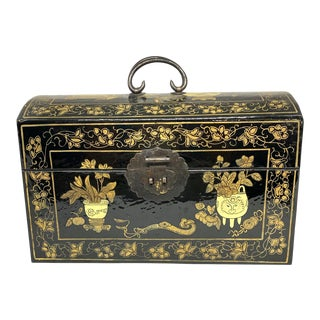 Vintage Chinese Painted Lacquer Domed Box For Sale
