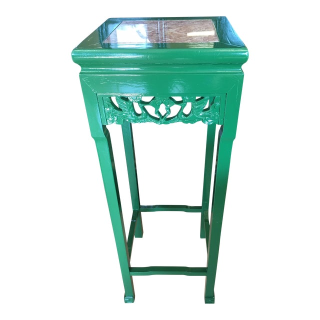 Vintage Asian Rosewood Stand in Kelly Green With Italian Marble Inlay For Sale