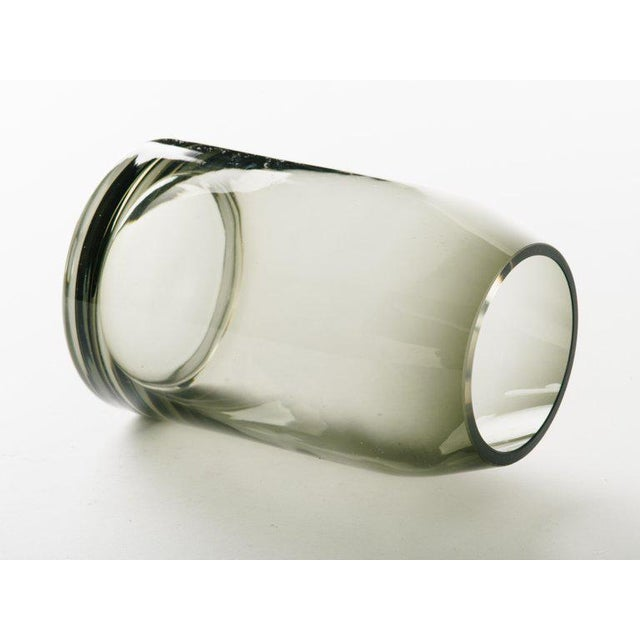 Glass Pair of Danish Modern Smoked Glass Sommerso Vases For Sale - Image 7 of 10