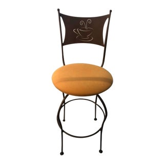 Contemporary Yellow Upholstered Cafe Bar Stool For Sale