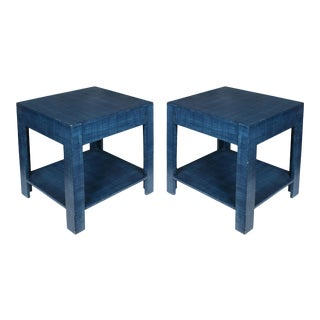 Custom Blue Strie Painted Bedside Tables - a Pair For Sale