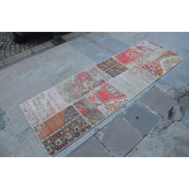 Turkish Hanmade Patchwork Runner Carpet - 2′11″ × 9′3″ For Sale - Image 4 of 6