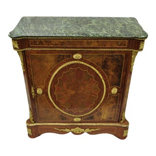 Louis XV French Reproduction Marble Top Bronze Commode For Sale