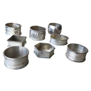 Antique Sterling Silver Napkin Rings - 8 Pieces For Sale