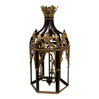 1960s Vintage Brown and Gold English Hanging Chandelier For Sale