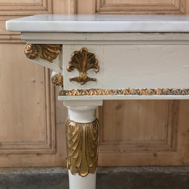 19th Century Italian Neoclassical Painted and Gilded Marble Top Center Table ~ Console For Sale In Baton Rouge - Image 6 of 12
