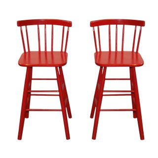 Mid-Century Red Bar Stools - A Pair