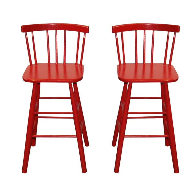 Mid-Century Red Bar Stools - A Pair - Image 1 of 4
