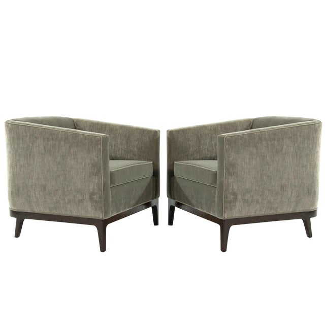 Mid-Century Modern Tub Chairs in Chenille For Sale