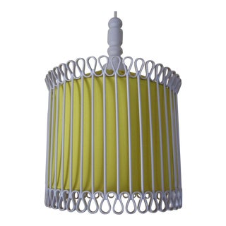 Mid-Century Modern White and Yellow Iron Chandelier For Sale