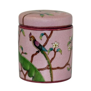Handmade Chinese Bird and Flowers Painting Small Porcelain Container Jar Box Preview