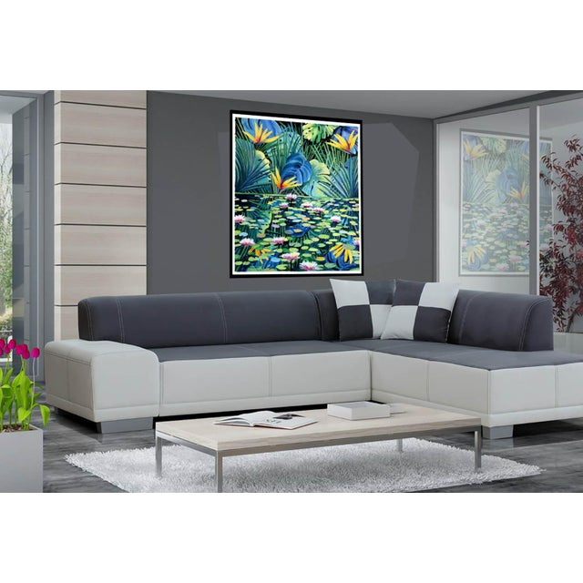 "Art Deco ""Reflection"" Tropical Acrylic Painting For Sale - Image 3 of 10"