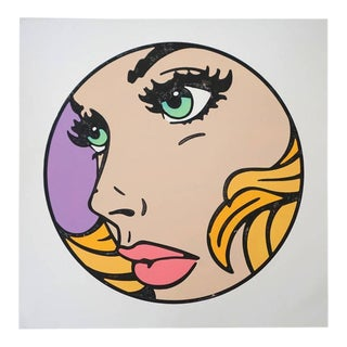 """Mitch McGee, """"All That I Can"""", Limited Edition, Pop Art, Woodcut, Purple, Green Eyes, Unframed For Sale"""