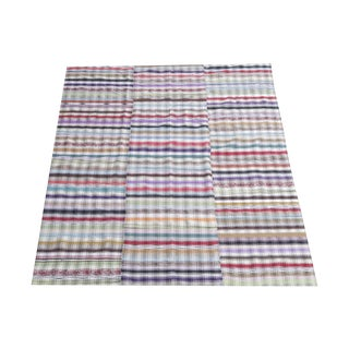 Vintage Turkish Multi Color Striped Flatweave Textile - 6′6″ × 7′5″ For Sale