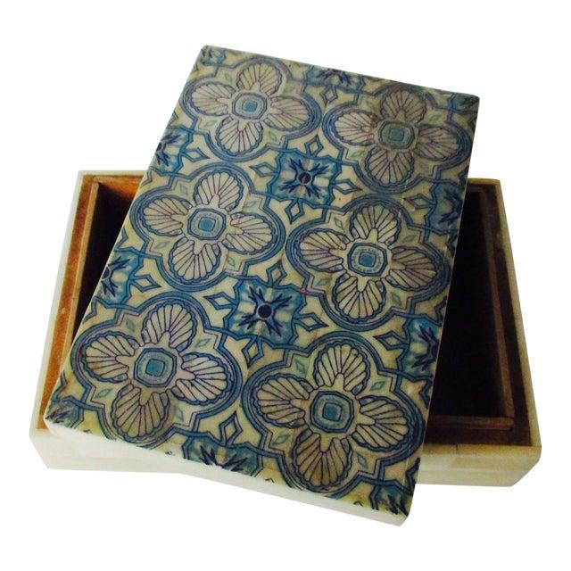 Blue & White Inlaid Bone Jewelry Box - Image 1 of 8
