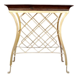 20th Century Modern Iron Wine Stand With Removable Butler's Tray For Sale