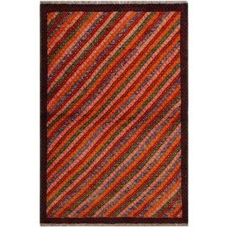Southwestern Balouchi Frederic Orange/Red Wool Rug - 3'2 X 4'10 For Sale