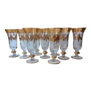 1940s Art Deco Arte Italica Medici Gold Flute Champagne Glasses - Set of 9