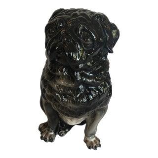 Show Stealer Italian Black Terracotta Pug Dog Sculpture For Sale