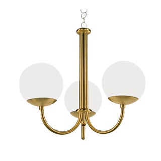 Oxford Brushed Brass 3 Arm Opal Globes Pendant Light For Sale