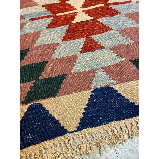 Vintage Handwoven Wool Flat Weave Fringed Turkish Rug For Sale - Image 4 of 6