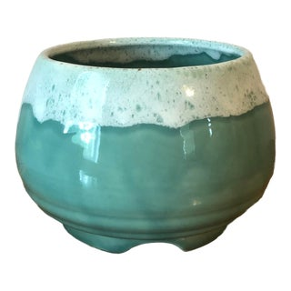 Vintage Upco Seafoam Green Pottery Planter For Sale