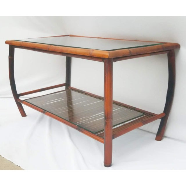 Boho Chic Hollywood Regency Bamboo and Rattan Coffee Table For Sale - Image 3 of 8