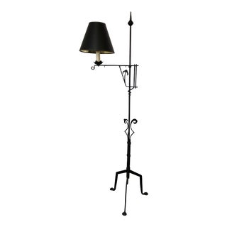 Antique 1900s Wrought Iron Bridge Arm Floor Lamp For Sale