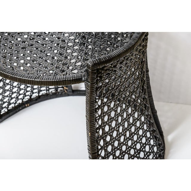 Italian High Back Black Woven Rattan Cane Chairs by Vivai Del Sud, C.1970, A-Pair For Sale - Image 4 of 13