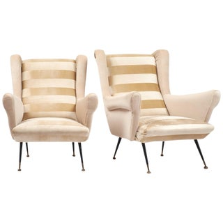 Italian Mid-Century Modern Striped Velvet Armchairs - a Pair For Sale