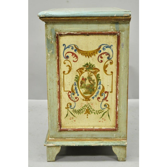 Antique Italian Venetian Blue Painted 3 Drawer Commode Chest of Drawers For Sale - Image 10 of 13