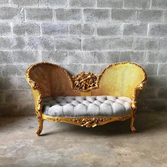 Beech Modern French Louis XV Style Marquise Sofa For Sale - Image 7 of 7