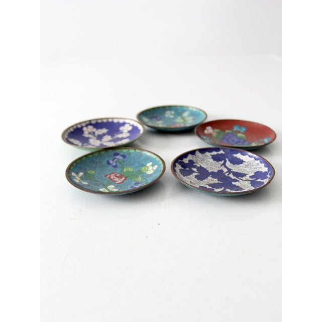 Antique Chinese Cloisonne Plates - Set of 5 - Image 4 of 8