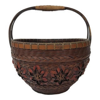 Antique Asian Bamboo Handmade Basket For Sale