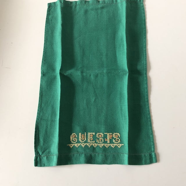 Traditional Vintage Green and Yellow Embroidered Guest Linen Towel For Sale - Image 3 of 6