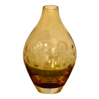 Krosno Poland Amber Morocco Glass Vase For Sale