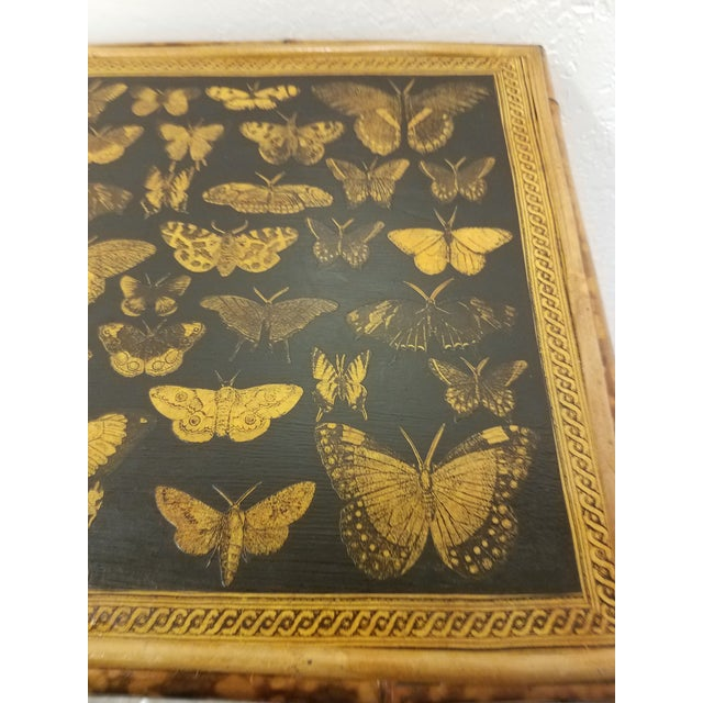 Black Antique English Bamboo Decoupaged Bookcase With Butterflies For Sale - Image 8 of 13