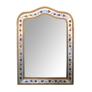 French Maison Jansen 1940's Eglomise and Giltwood Mirror For Sale
