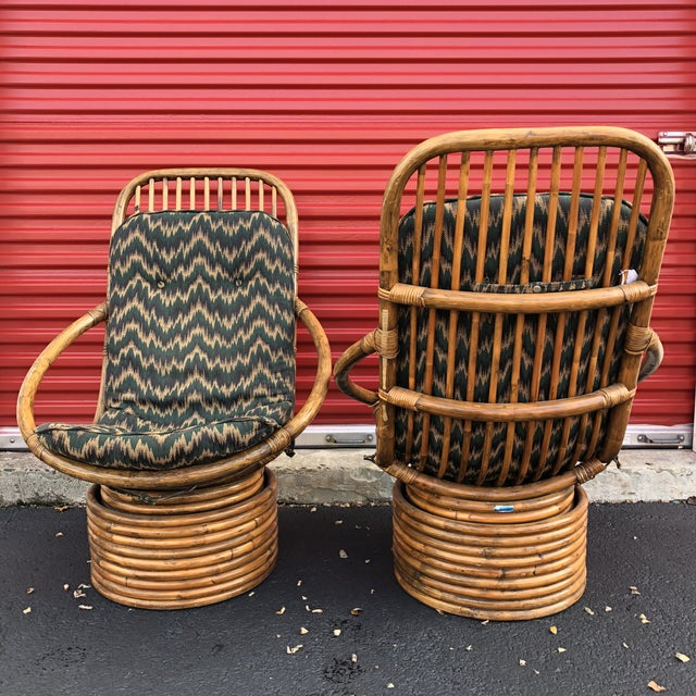 1960s Anglo-Indian Rattan Swivel Lounge Chairs - a Pair For Sale In New York - Image 6 of 13