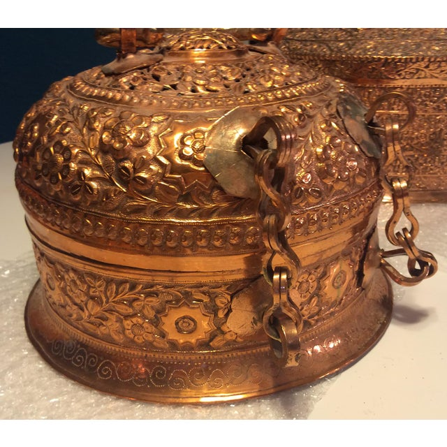Traditional Antique Copper Repousse Paan Dan Box For Sale - Image 3 of 7