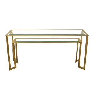 Vintage Modern Brass Console Table For Sale