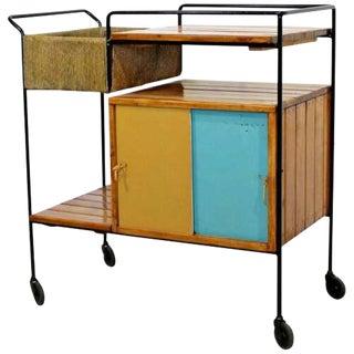 Mid Century Modern Arthur Umanoff Tiki Bar Cart Wrought Iron Rush & Wood 1950s For Sale