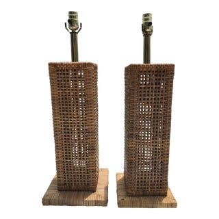 Vintage Boho Chic Wicker Lamps - a Pair
