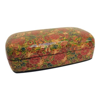 Kashmir Lacquered Floral Box For Sale