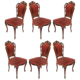Louis XV Style Mahogany Dining Chairs With Carved Pierced Backs, Set of Six For Sale