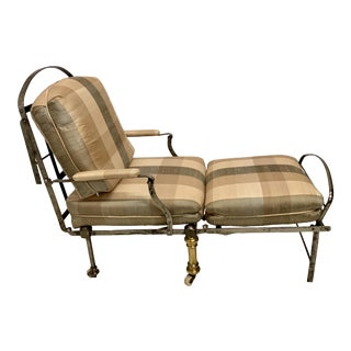 Antique French Steel & Brass Campaign Chair / Chaise For Sale