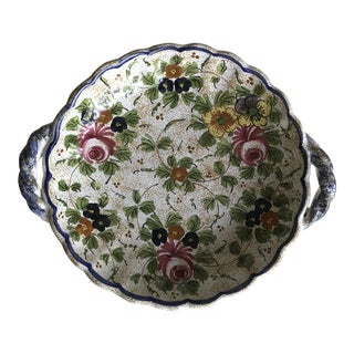 1990s Italian Handpainted Floral Dish For Sale